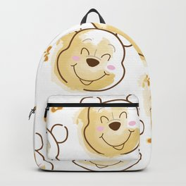 Inspired Pooh Bear surrounded with bees Pattern on White background Backpack