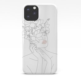 Minimal Line Art Woman with Magnolia iPhone Case