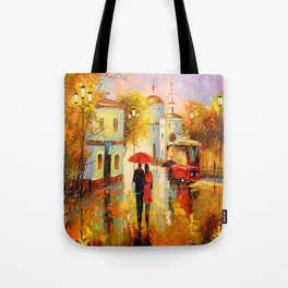 Rain in the city of love Tote Bag