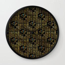 Eye of Horus and Egyptian hieroglyphs pattern Wall Clock
