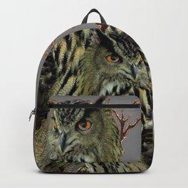 FOREST  WOODS OWL FAMILY GREY ART DESIGN  ART Backpack