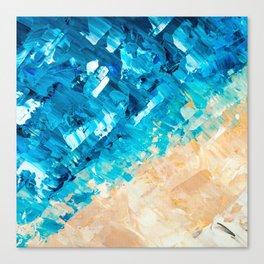 Deep | Abstract blue turquoise ocean beach acrylic brushstrokes painting Canvas Print