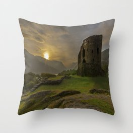 Dolbadarn Castle Sunrise Throw Pillow