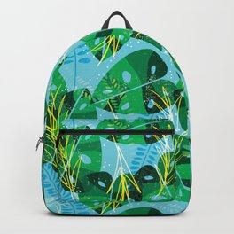 Elephant Leaf Green Blue Backpack
