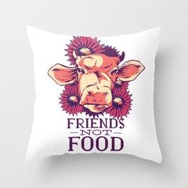 Friends Not Food Vegan Throw Pillow
