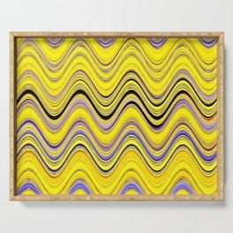 yellow purple blue wavy striped pattern Serving Tray