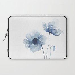 Blue Watercolor Poppies Laptop Sleeve
