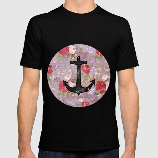 Vintage Nautical Anchor Purple Pink Floral Pattern  T-shirt