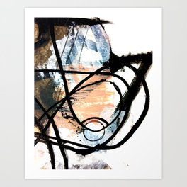 It comes and goes - a black and white abstract mixed media piece with pink details Art Print