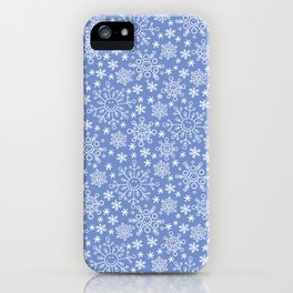 Snowflake doodle pattern on the blue backgrount iPhone Case