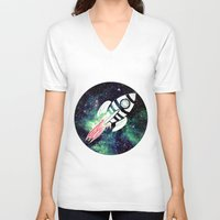 spaceship V-neck T-shirts featuring Spaceship by Cs025