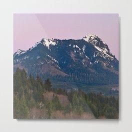 Snowy Saddle Mountain Snow Forest Pacific Northwest PNW Oregon Trees Landscape Purple Sunset Big SKy Metal Print