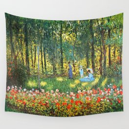 Claude Monet The Artist's Family In The Garden Wall Tapestry