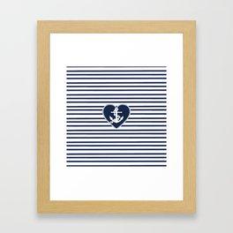 Modern navy blue white heart anchor nautical stripes Framed Art Print