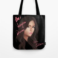 vampire diaries Tote Bags featuring Elena Gilbert (The Vampire Diaries) by Ally Hsia