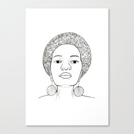 Beautiful Afro woman with earrings Canvas Print