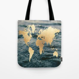 Gold Map in Water Tote Bag
