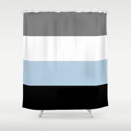 Black, white, gray and light blue stripes Shower Curtain