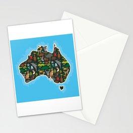 map of Australia. Wombat Echidna Platypus Emu Tasmanian devil Cockatoo kangaroo dingo octopus fish Stationery Cards