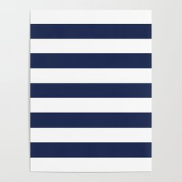 Space cadet - solid color - white stripes pattern Poster