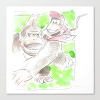donkey kong Canvas Prints featuring Donkey Kong and Diddy Kong by Josh Filhol