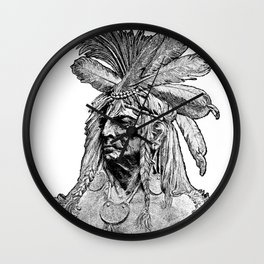 Chief / Vintage illustration redrawn and repurposed Wall Clock