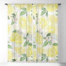 mediterranean summer lemon fruits on white Sheer Curtain