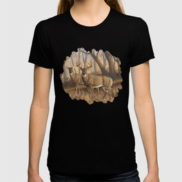 Whitetail Deer Trophy Buck and Doe in Autumn T-shirt