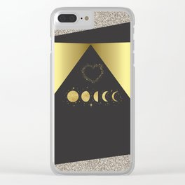 Faux Gold Moon Phases Gold Heart Clear iPhone Case