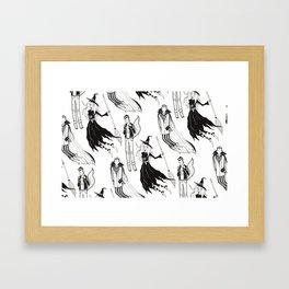 Happy Monsters (in white) Framed Art Print