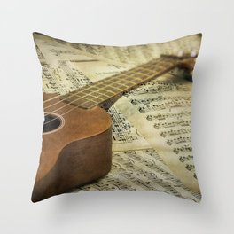 Do a Little Jig; ukulele with sheet music in the background Throw Pillow
