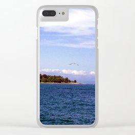 Lone Gull Over Lake Michigan Clear iPhone Case