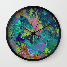 Messy Art I - Abstract, paint splatter painting, random, chaotic and messy artwork Wall Clock