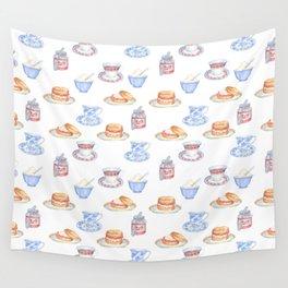 British Cream Tea Pattern Wall Tapestry