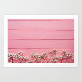 Baby's Breath x Candy Pink Wood Art Print