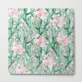 Blush pink  green pine tree modern floral Metal Print