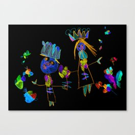 King, queen and butterflies Canvas Print