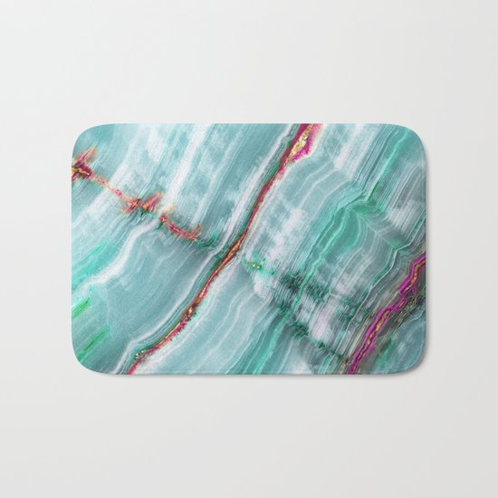 Jade Mint Marble Paint Abstract  Bath Mat