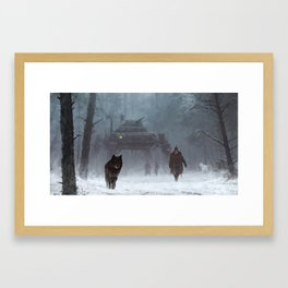 winter walk through the woods Framed Art Print