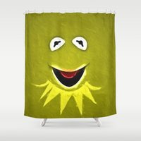kermit Shower Curtains featuring Kermit The Frog by DisPrints