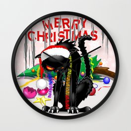 Evil Black Cat VS Christmas Tree Wall Clock