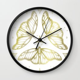 Fairy Dance - Gold Wall Clock
