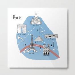 Mapping Paris - Original Metal Print