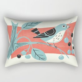 Blue Berry Bird Rectangular Pillow