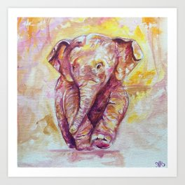 Baby Elephant Painting Art Print