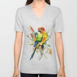 Sun Conure Parakeet, tropical colors parrot art design Unisex V-Neck