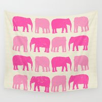 nursery Wall Tapestries featuring Pink Elephant Nursery Print by OldRedCanoe