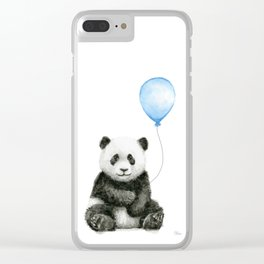 Panda Baby Animal with Blue Balloon Clear iPhone Case