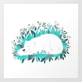 sleeping polar bear illustration Art Print