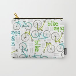 Watercolor Blue and Green Bikes Carry-All Pouch
